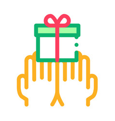 hands giving gift icon outline vector image