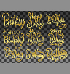 happy birthday set print design handwritten vector image