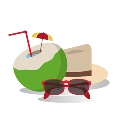 Hat cocktail glasses vacation summer vector