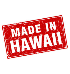 Hawaii red square grunge made in stamp vector