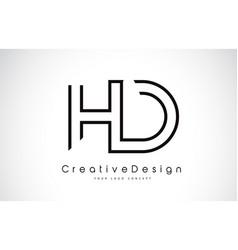 Hd h d letter logo design in black colors vector