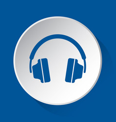 headphones - simple blue icon on white button vector image