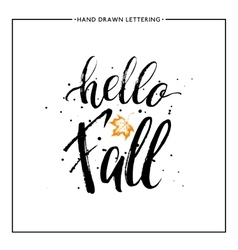 Hello fall text with leaf orange maple and black vector
