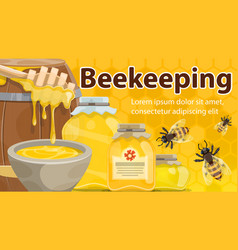 Honey and bees of beekeeping farm banner vector