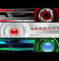 Horizontal a banner with the abstract mechanism vector