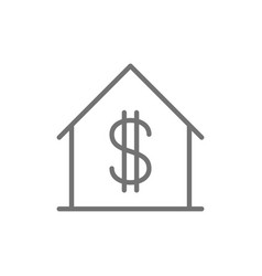 house with dollar sign sale of apartment line vector image