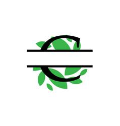 initial c green leaf monogram split letter vector image