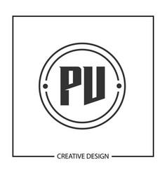initial pv letter logo template design vector image