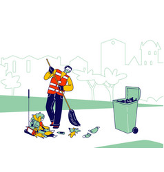 Janitor character in respirator mask and uniform vector