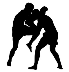 Kick boxing silhouette vector