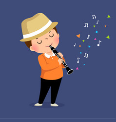Little boy playing clarinet vector
