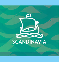 logo of scandinavian drakkar in white lineart vector image