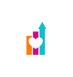 love arrow business chart logo vector image