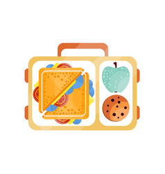 lunch bag with sandwich chocolate cookie and vector image