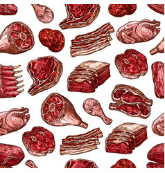 meat beef pork and chicken cuts seamless pattern vector image