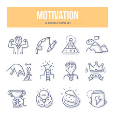 Motivation doodle icons vector