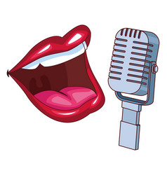 Mouth and microphone vector