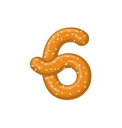 Number 6 pretzel snack font six symbol food vector