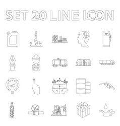 Oil industry outline icons in set collection for vector