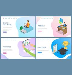 Online education and tutorials webinar web vector