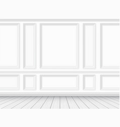 parquet floor and white paneled wall background vector image