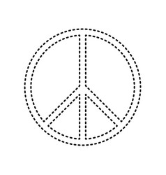 peace sign black dashed icon vector image
