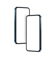 Phones dark blue mockups vector