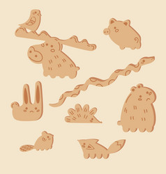 Pieces for wooden stack balance game animals vector