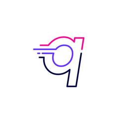Q letter dash lowercase tech digital fast quick vector