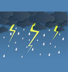 Rain thunder lightning paper cut rainy season vector