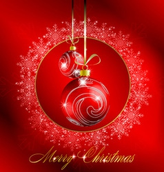 red merry christmas postcard vector image