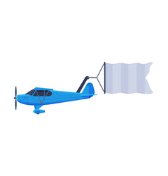 retro blue plane with blank banner flying in the vector image