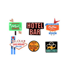 Retro signs collection vintage billboards vector