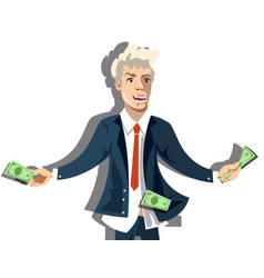 Rich businessman character hold money vector