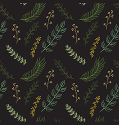 Seamless pattern composed of leaves and branches vector