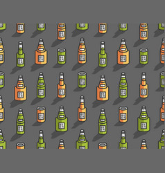 Seamless pattern with isometric beer bottles vector