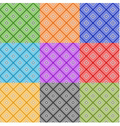 series of abstract seamless patterns with squares vector image