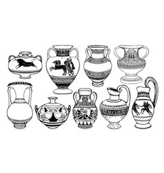 set antique greek amphorae with decorations vector image