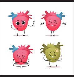 Set heart characters cute human body internal vector