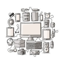 Set of digital office devices Sketch for your vector image