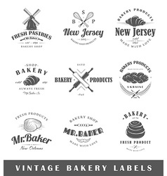 Set of vintage bakery labels vector image