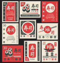 Set old postage stamps with japanese symbols vector
