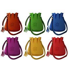 Small handbags in six colors vector
