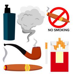 smoking icons cigarette cigar protect vector image