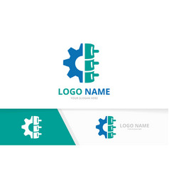 Spine and gear logo combination factory vector