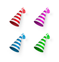 Striped birthday hat set colorful birthday hats vector