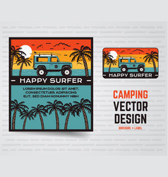 surf graphics poster and logo happy surfer sign vector image