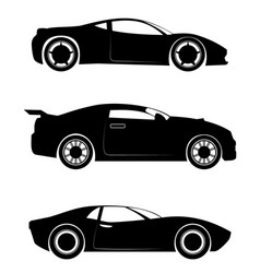 three sportcar silhouettes vector image