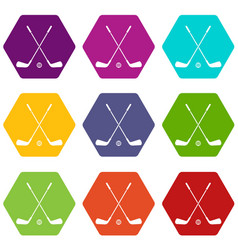 Two crossed golf clubs and ball icon set color vector