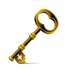 Vintage bronze key isolated on white vector image